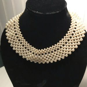 Vintage Pearl Chocker Bib Necklace
